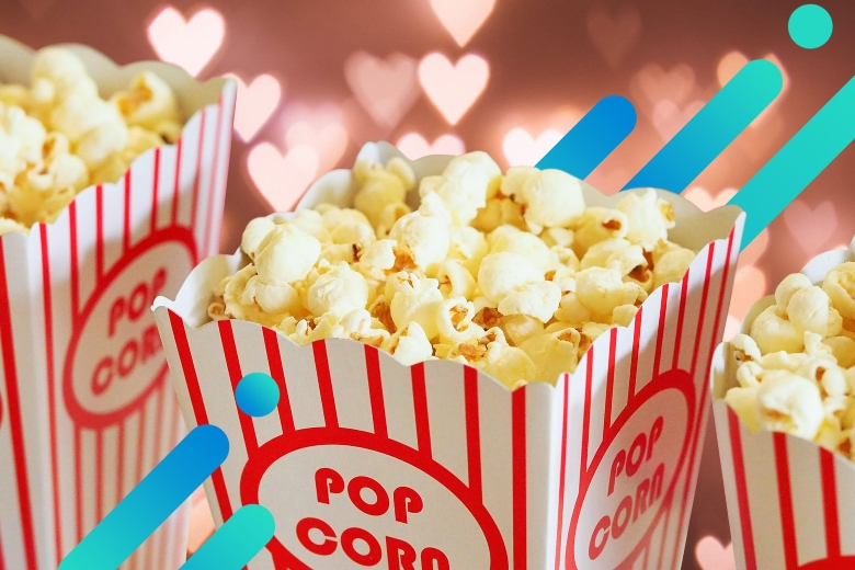 popcorn on an abstract Valentine's day themes background