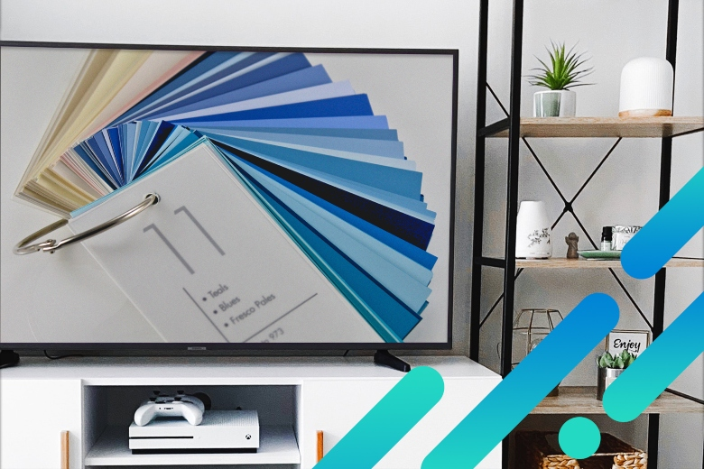 TV displaying paint color cards for DIY