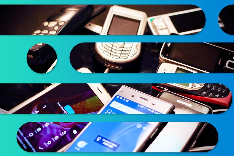 A photo of a jumbled mass of old mobile phones is seen through the bars of Suddenlink graphic overlay