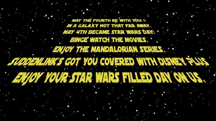 Space background with yellow writing about Star Wars Day.