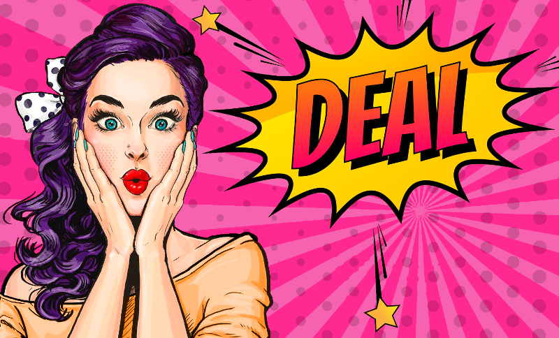 Pop art girl surprised by all the deals on internet services