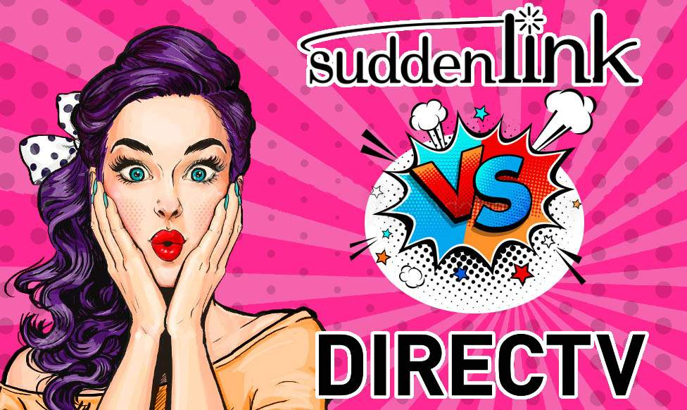 Pop-up comic of surprised girl with Suddenlink vs. DIRECTV logos