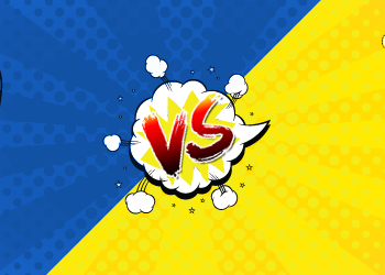 Pop art cloud with versus on top of split blue and yellow background