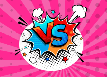 Vibrant blue and red vs sign on bright pink background