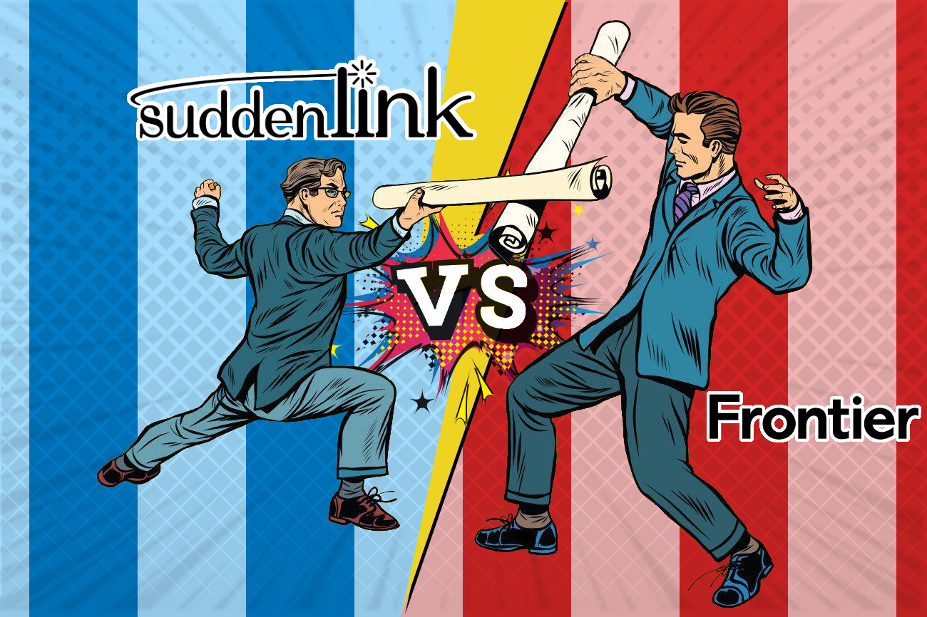 Two men fighting symbolizing Suddenlink and Frontier