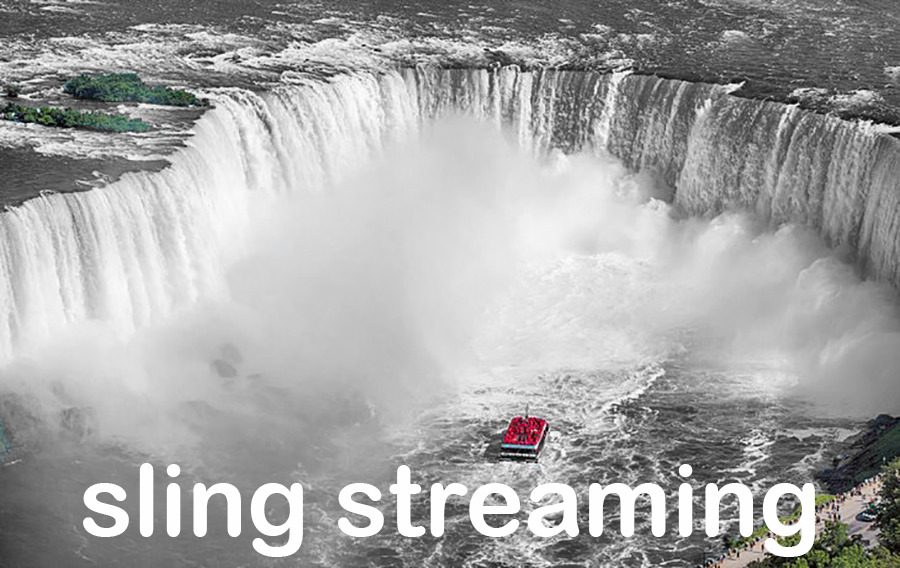 """Boat near waterfall with """"Sling TV Streaming"""" overlay."""