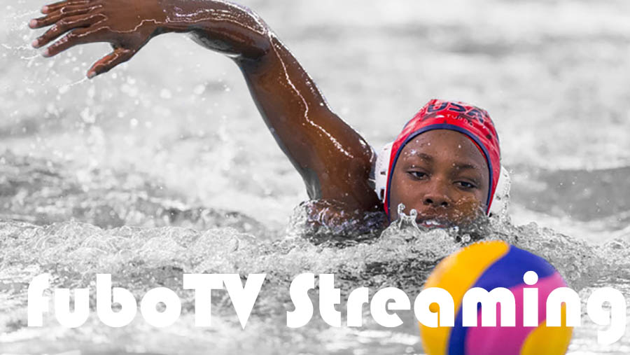 """Woman swimming towards volleyball with """"fubuTV streaming"""" white text overlay."""