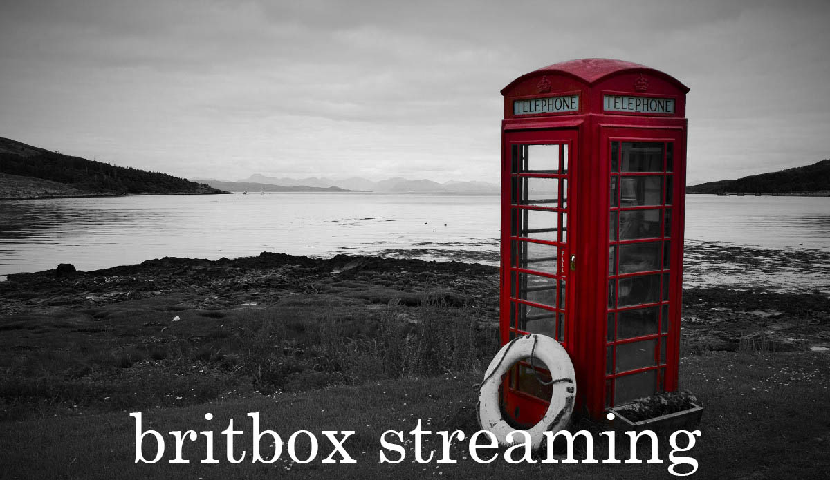 Red telephone booth by stream with Britbox streaming text overlay