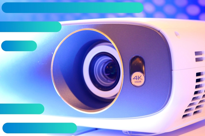4k projector shown in detail on abstract background
