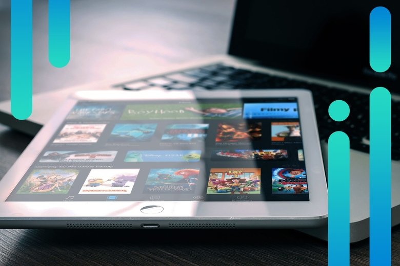 Content streaming on a tablet device with an abstract background