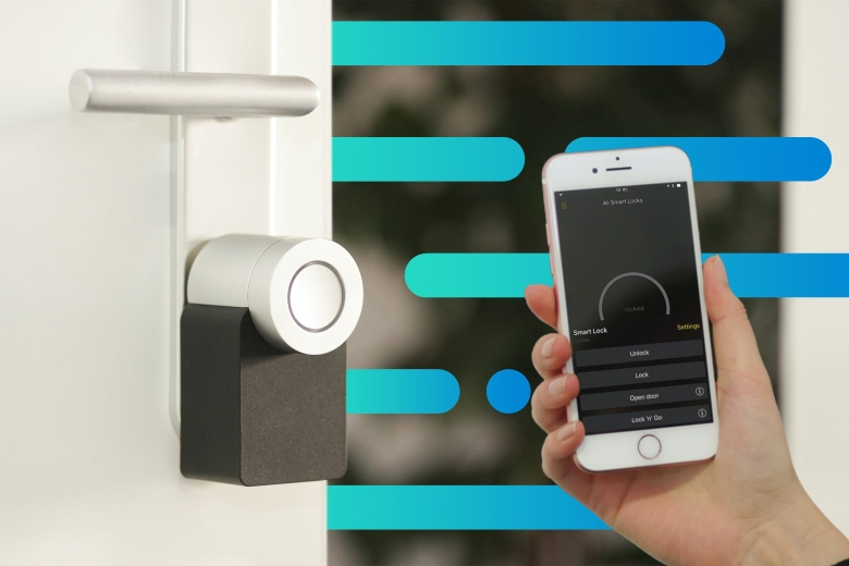 Person using their mobile device to activate their smart lock