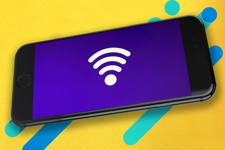 Smart phone with wifi symbol on abstract background